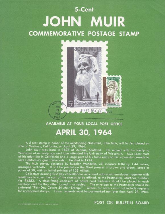John Muir 1964 Commemorative Postage Stamp Poster