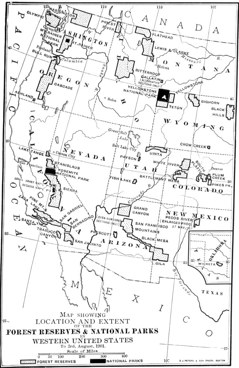 Our National Parks By John Muir C The Writings Of - Us map showing national parks