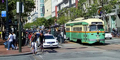 Bike and public-transit-friendly Market Street in San Francisco, California.