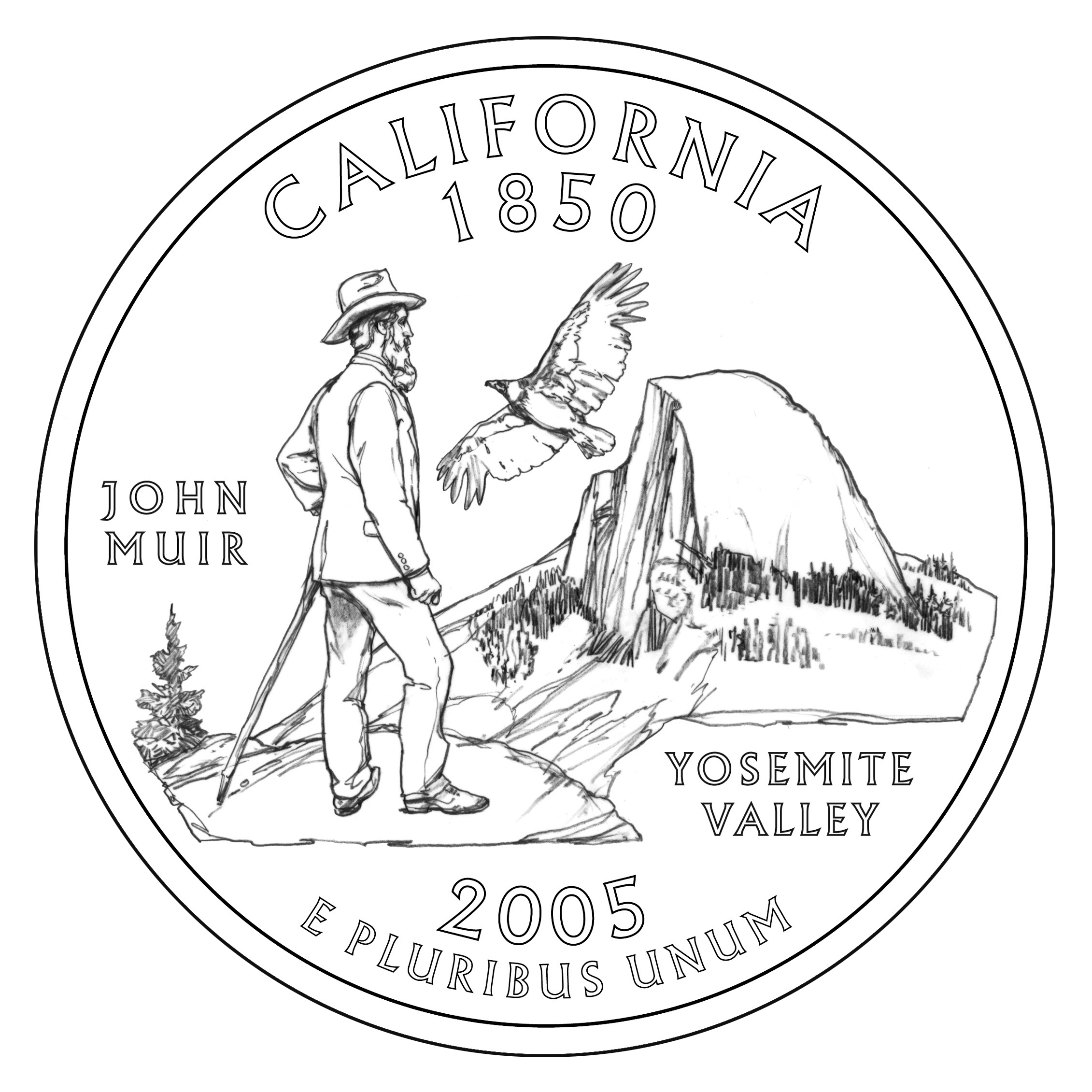 John muir yosemite california state quarter coin