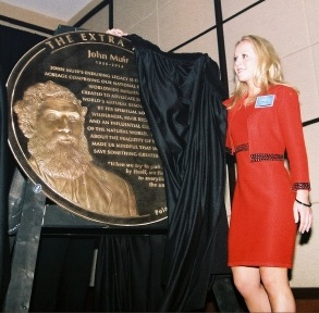 Unveiling of the John Muir Medalliion at the April 22, 2009 Induction Ceremony for the Extra Mile Volunteer Pathway