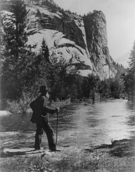 Muir in Yosemite by the Merced River by Colby