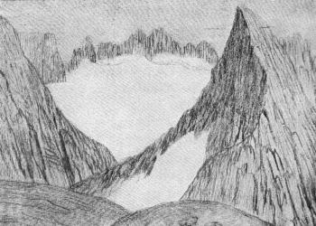 John Muir Sketch One of the Highest Mt. Ritter Fountains